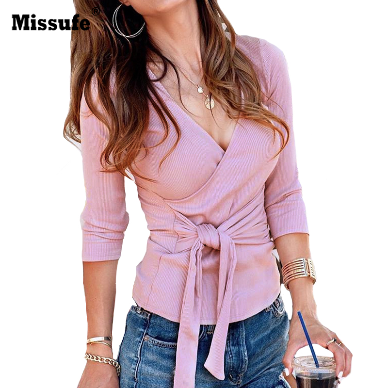 Missufe Cross Strap Bandage   Blouses     Shirts   For Women Winter Knitted Slim Female Tops Blusas Streetwear Sexy V Neck Autumn   Blouse