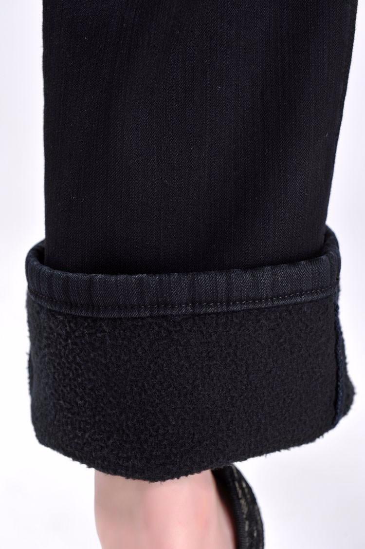 USD สีฟ้ากำมะหยี่สีดำกางเกง Thicken ฤดูหนาวกางเกงยีนส์ขากว้างขนาดใหญ่คุณภาพสูงเอวยาว 17