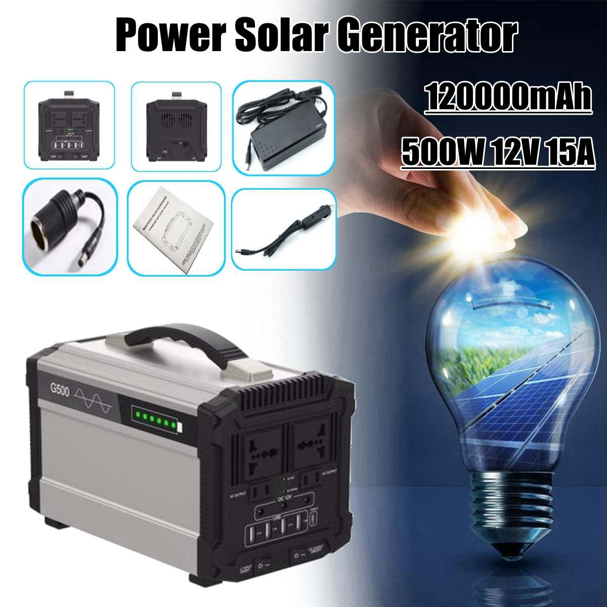444Wh 120000mAh 500W 12V 15A Energy Storage Home Outdoor Portable Power Solar Generator Faster Charge444Wh 120000mAh 500W 12V 15A Energy Storage Home Outdoor Portable Power Solar Generator Faster Charge