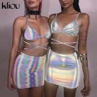 Kliou 2019, новинка, женский модный сексуальный комплект из двух предметов, серебряный блестящий материал, на шнуровке, камзол, юбки, наряд, летня...