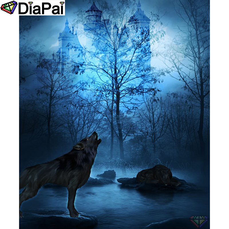 DIAPAI Diy Full Square Round Drill 5D Diamond Painting Cross Stitch Diamond Embroidery quot Wolf Tree Castle quot Home Decor Gift A25375 in Diamond Painting Cross Stitch from Home amp Garden