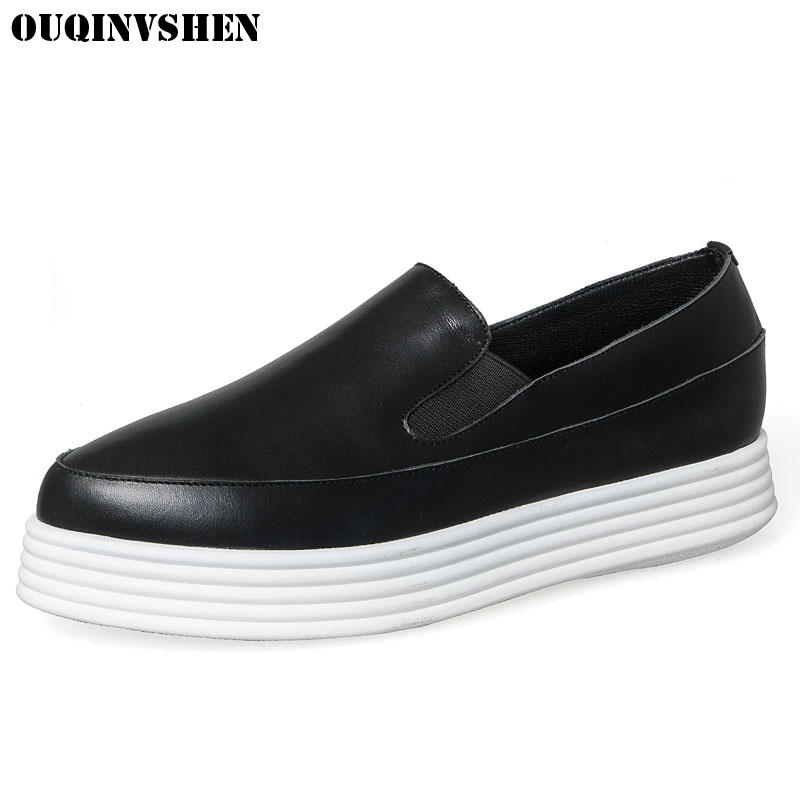 OUQINVSHEN Round Toe Platform Women Flats Casual Fashion Solid White Shoes Genuine Leather Slip On Loafers 2017 Ladies Loafers beautoday genuine leather crystal loafer shoes women round toe slip on casual shoes sheepskin leather flats 27038
