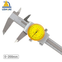 0 200mm Shockproof Stainless Steel Dial Caliper/Vernier Caliper with Inside, Outside, Step and Depth Measurement
