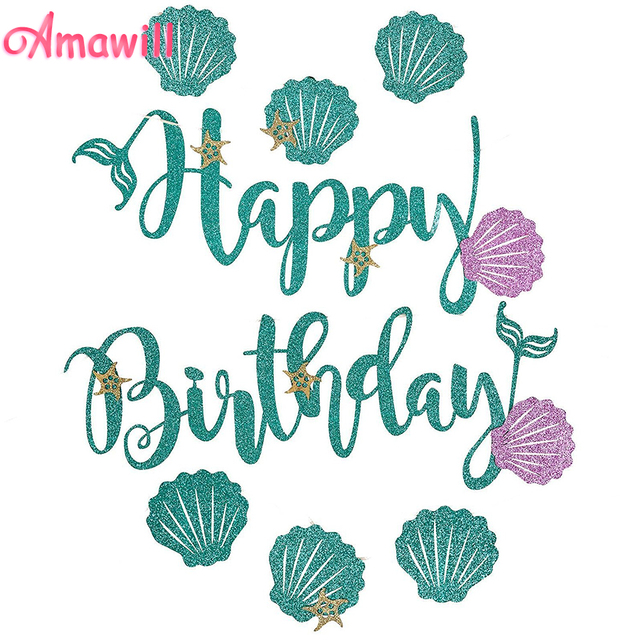 amawill glitter mermaid happy birthday banner blue letter purple