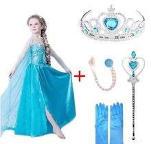 Queen Elsa Party Dress Kids Girls Clothes Elza Costumes Princess Anna Dress for Girls Vestidos Girls Clothing Set недорого