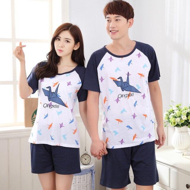2017-Пары одежды Papercranes шаблон Синий цвет короткие брюки пижамы набор
