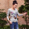 New Arrive Women's Spring And Summer Long-sleeve T-shirt Female Basic Shirt All-match Print T-Shirt