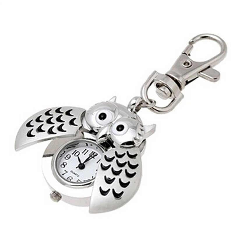 Mini llavero de metal búho doble abierto reloj de cuarzo-plata derss señoras reloj de lujo mujeres Acero inoxidable 2019
