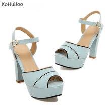 KoHuiJoo Korea Sweet PU Buckles Women Sandals Peep Toe Heel ae4aa677fe1d