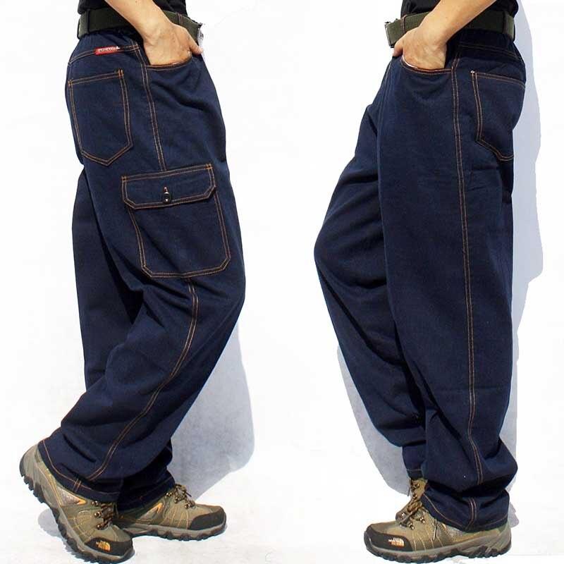 Plus Size Work Pants Loose Baggy Jeans Hip Hop Cargo Pants Men Casual Denim Jeans Multi Big Pocket Straight Trousers Men Clothes