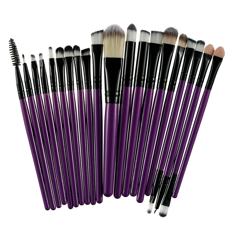 20Pcs Professional Makeup Brushes Set Powder  Eyeshadow Make Up Brushes Cosmetics Soft Synthetic Purple+Brown 8