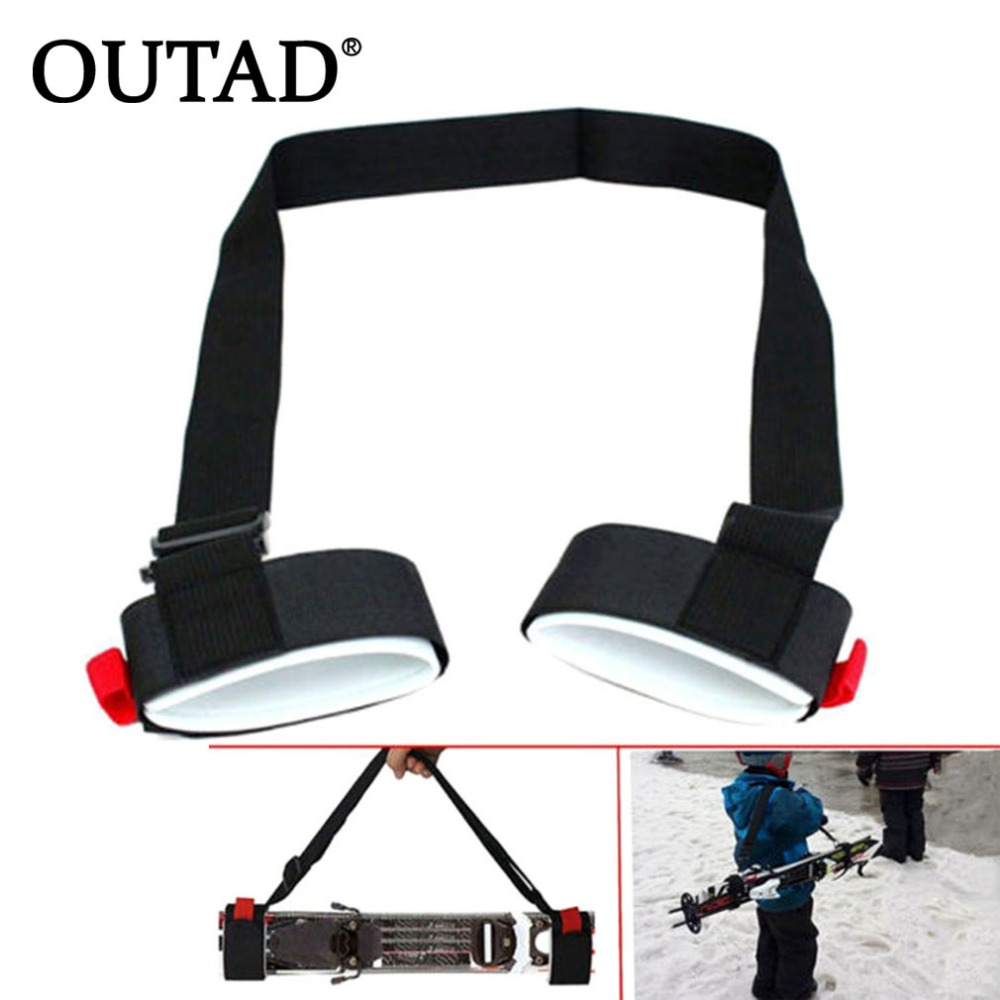 OUTAD Adjustable Skiing Pole Shoulder Carrier Lash Handle Straps Porter Hook Loop Protecting Black Nylon Ski Handle Strap Bags