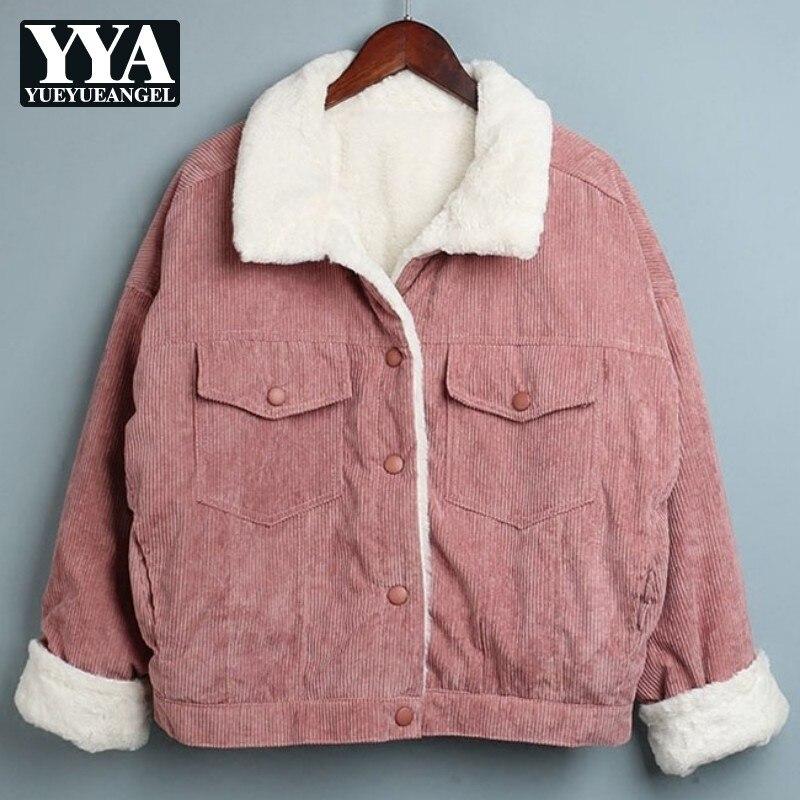 2019 automne hiver nouveau velours côtelé lapin fourrure doublure épais chaud veste femmes mode coréen revers lâche femme Parka manteaux vêtements