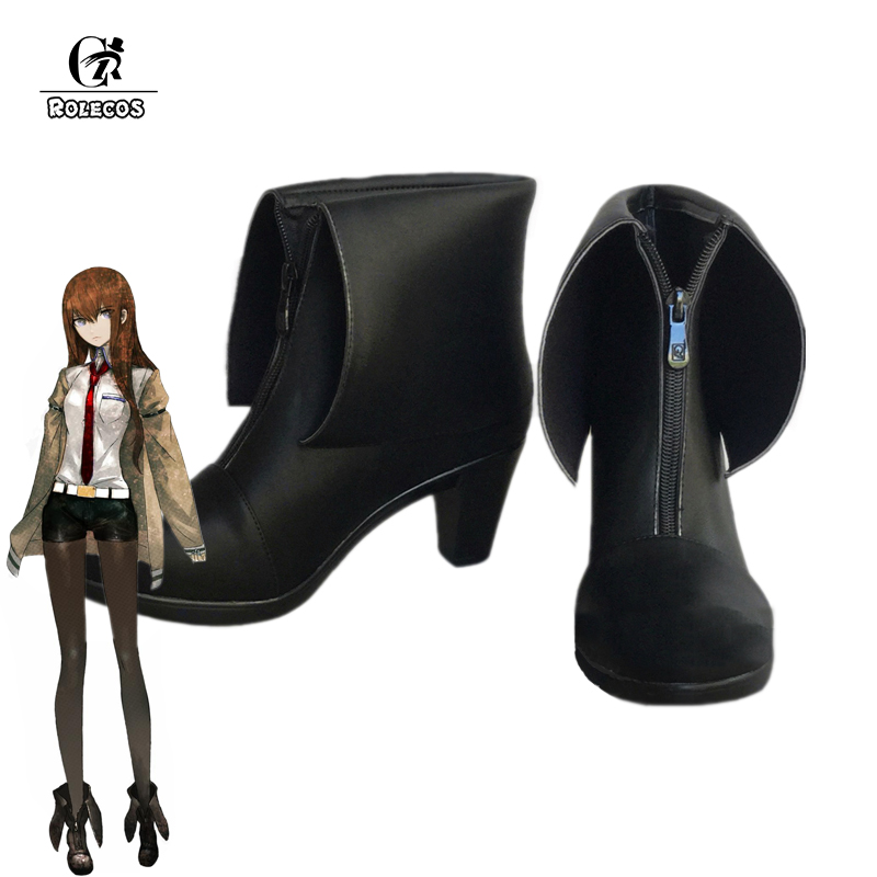 ROLECOS Steins Gate 0 Cosplay Chaussures Makise Kurisu Cosplay Bottes Femmes Noir Bottes Makise Kurisu Steins Gate 0 Cos