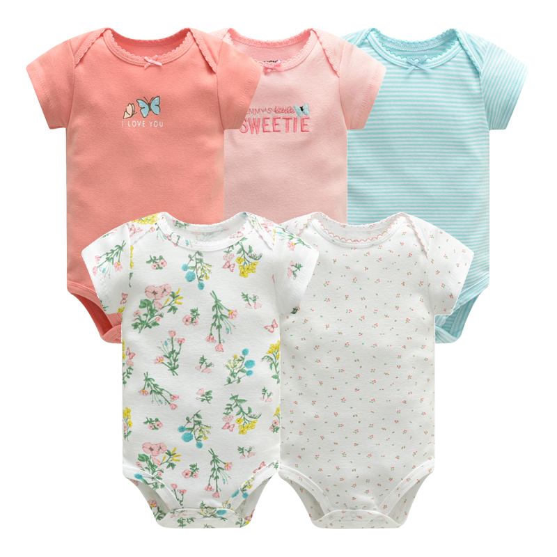 Baby Jumpsuit 2018 Bodysuits Short Sleeve Cotton Cute Print Romper 5 Pcs New Born Infant Outfit Summer Baby Boys Clothes Set