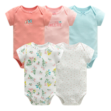 Baby Jumpsuit Bodysuits Short Sleeve Cotton Cute Print Romper 5Pcs New Born Infant Outfit Summer Baby Boys Clothes Set Robe bebe