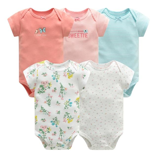 Bebek tulum Bodysuits kısa kollu pamuk sevimli baskı Romper 5 adet yeni doğan bebek kıyafet yaz bebek erkek giysileri seti elbise bebe