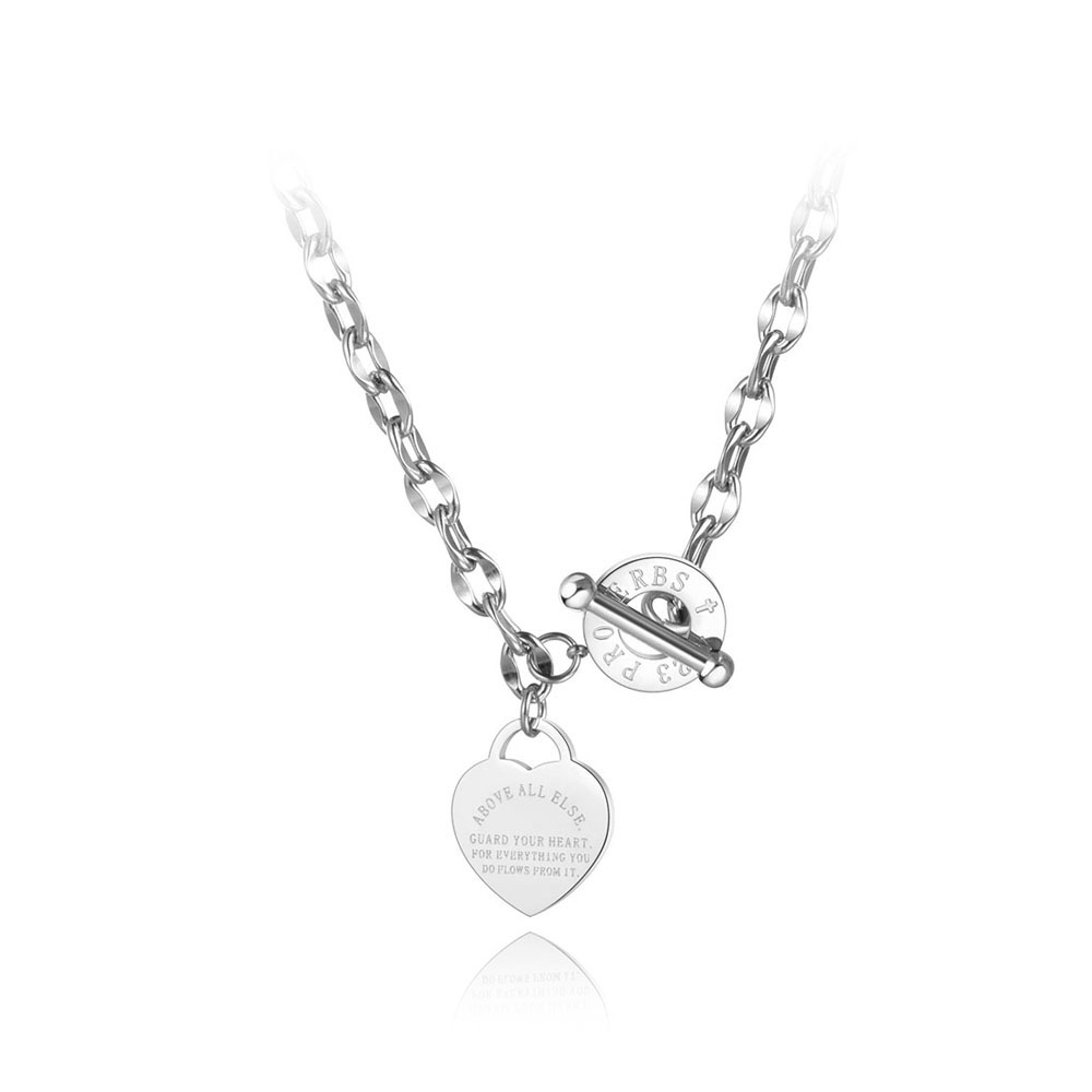 Lokaer Titanium Stainless Steel Heart Charm Pendant Necklaces Jewelry Classic Love Bible Proverbs 4:23 O-Chain Necklace N19085 3