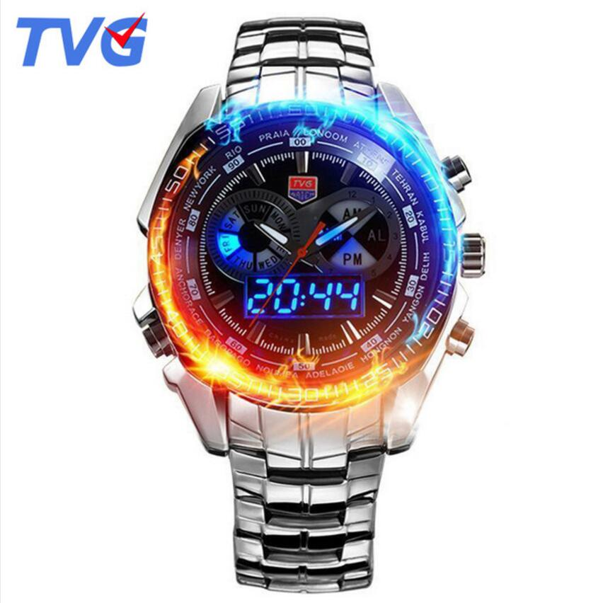 reloj hombre 2018 TVG Men Sports Watches Stainless Steel waterproof Quartz Watch Led Digital Analog Display Men's Watches