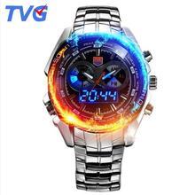 купить 2017 TVG Male Sports Watch Men Full stainless steel waterproof Quartz-watch Digital Led Analog Dual display Men's Wrist Watches по цене 1599.79 рублей