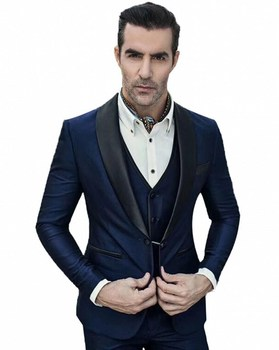 New Design One Button Navy Blue Groom Tuxedos Shawl Lapel Groomsmen Mens Wedding Prom Suits (Jacket+Pants+Vest+Tie) NO:183