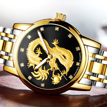 relogio masculino GUANQIN Mens Watches Top Brand Luxury Luminous Clock Gold Dragon Sculpture Stainless Steel Quartz Wrist Watch guanqin dragon watch men gold quartz wristwatch luxury brand waterproof male clock steel watches for men relogio masculino