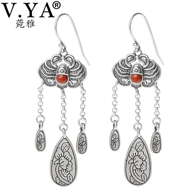 V.YA Bohemia Boho 925 Sterling Silver Long Earrings for Women Office Lady Thai Silver Earrings Dangle Jewellery colorful boho earrings