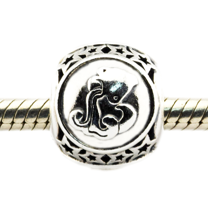 Fits For Pandora Bracelets Aquarius Star Sign Charms 100% 925 Sterling Silver Beads Free Shipping