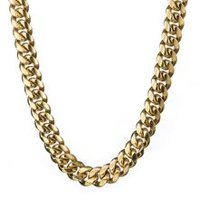 Granny Chic Hip hop Heavy Huge 18mm Men Cuban Miami Chain Necklace Stainless steel Gold casting Necklaces