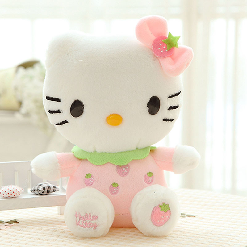 20CM  High quality hello kitty plush toys hug pillow  fruit KT cat stuffed dolls for girls kids toys gift mini animal plush doll free shipping hello kitty toys kitty cat fruit style pvc action figure model toys dolls 12pcs set christmas gifts ktfg010