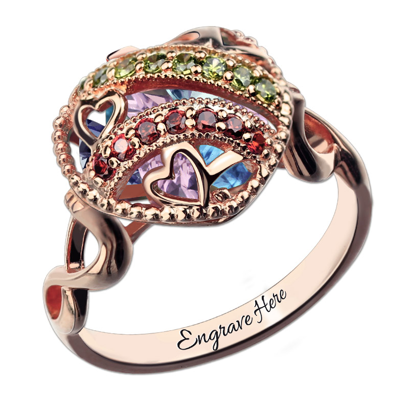 AILIN Rose Gold Color Open Heart Birthstone Caged Ring Custom Jewelry for Mom Hand Stamped Mother Gift цена и фото