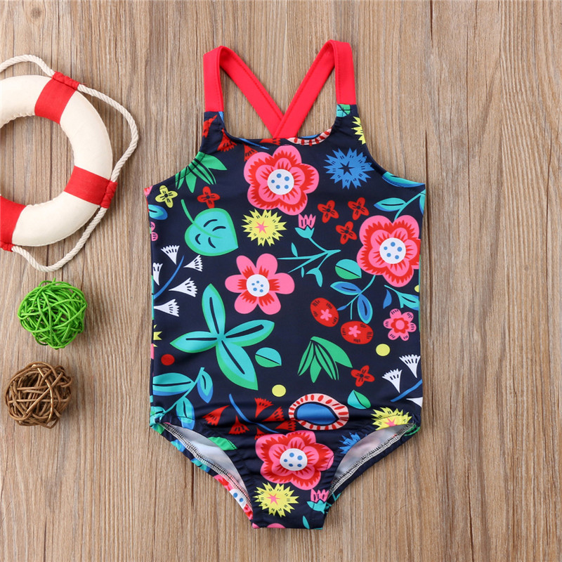 Hot Summer Cute Baby Girls Swimwear One Piece With Floral Pattern Beach Girls Swimsuit Kid Children Swimming Costumes Bikini
