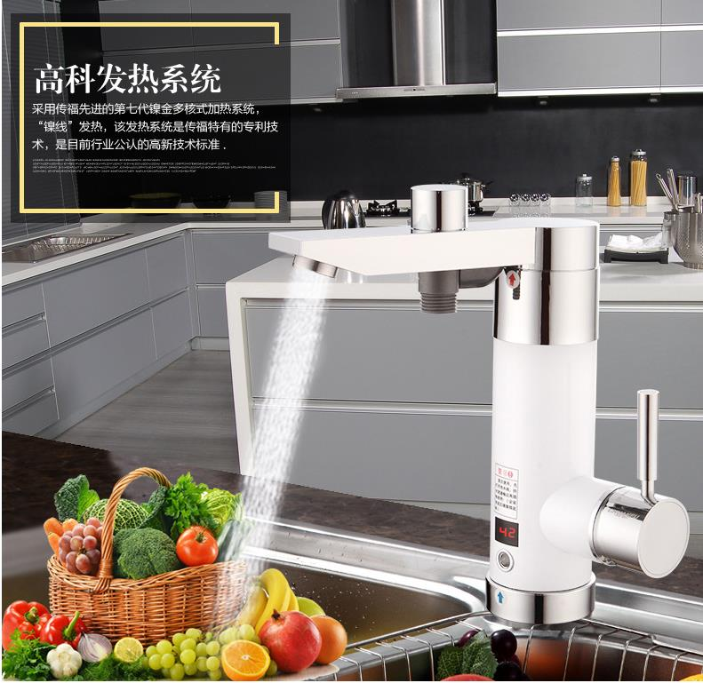 high quality tankless electric instant hot water tap 3000w electric heating faucet Water Heating Heater new electric instant tankless hot water tap 3000w stainless steel electric heating faucet kitchen water heating heater