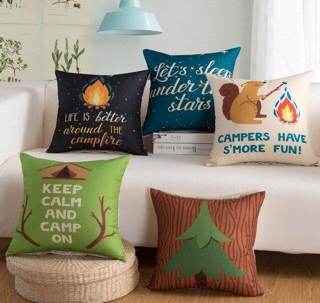 Bon Christmas Cushion Cover Fire Squirrel Creative Letters Decorative Throw  Pillows Cotton Linen Square Sofa Seat Pillow