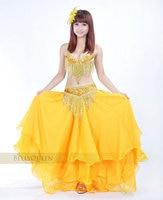 Gole Womens Dancewear 3PC Belly Dance Costume Hip Scarf Top Bar 34B/C Skirt Suits 815#