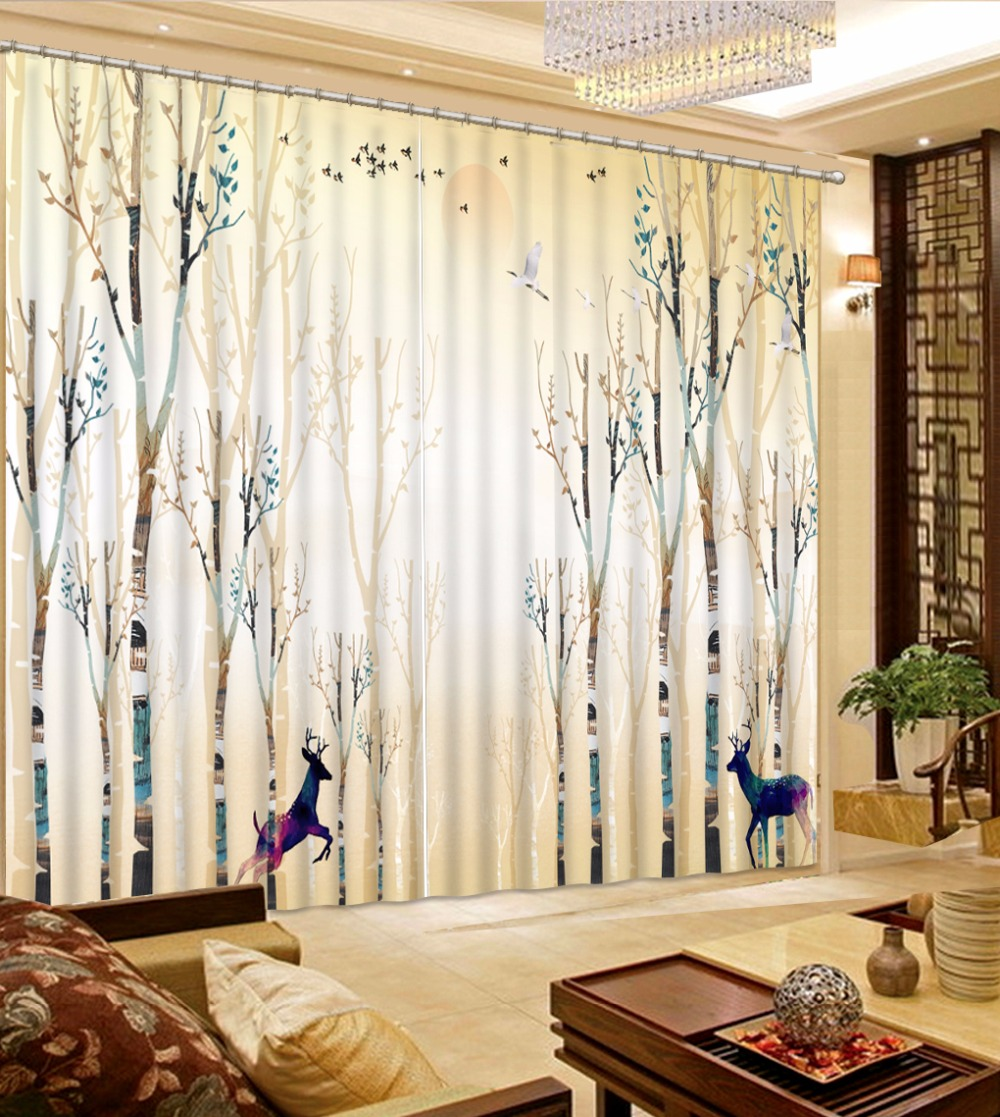 Modern Fashion Curtains brief tree Curtains For Living ...