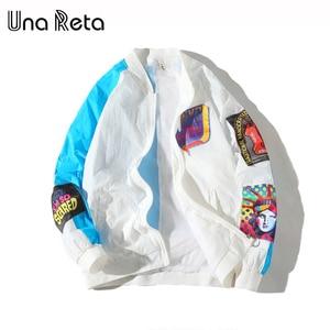 Image 2 - Una Reta Jackets Mens New Hip Hop Brand Thin Tracksuit Coat Fashion Casual Streetwear Man Pattern Stitching Baseball Jacket