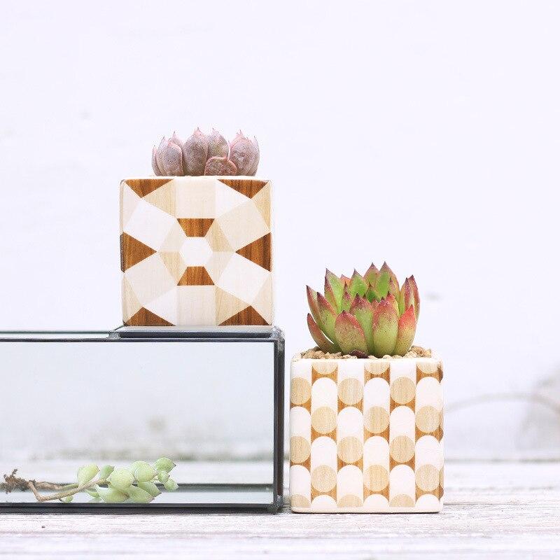 Lot de 6 pots de fleurs dorés Design Grain de bois en céramique Succulent Pot de plantes en porcelaine bureau Cactus bonsaï jardinières-in Pots de fleurs et jardinières from Maison & Animalerie    3