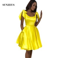Yellow Short Party Dress With Bow Straps Satin Girls Prom Dress Simple Homecoming Gowns