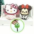 2 unids cute anime cartoon llavero clave tapa del teclado de silicona de color cap mujeres hello kitty minions llavero anillo