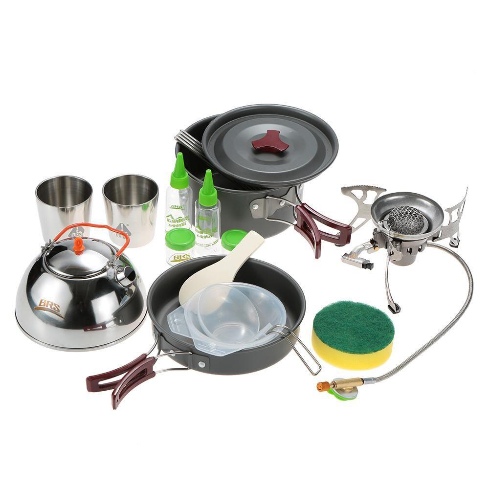 BRS Portable Cooking Pot Frying Pan Frypan Cup Teapot Sets Cookware Split Windproof Gas Stove Furnace Camping Picnic Outdoor Set sauté pan