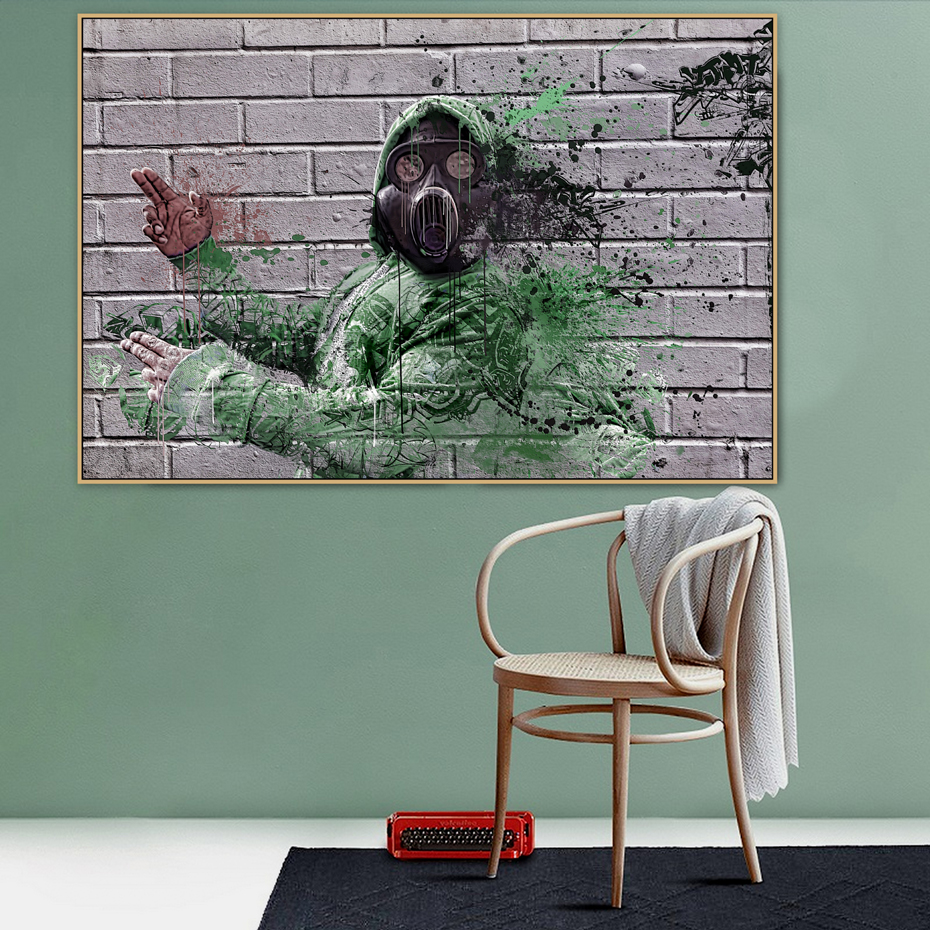 Abstract Mask Man Graffiti Street Art Mural Banksy Canvas Painting Posters Prints POP Wall Pictures Living Room Home Decor