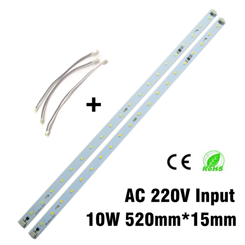 220V 10W High Brightness 5730 LED Bar Lights LED Tube 520mm*<font><b>15mm</b></font> LED Light Source With Cable Connector Needn't <font><b>Driver</b></font> image