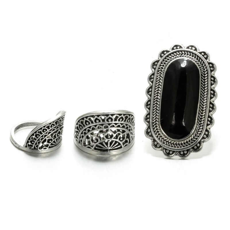 1เซ็ต3ชิ้นวินเทจสีเงินสีดำขนาดใหญ่แหวนR Hinestoneสำหรับผู้หญิงเผ่าหินกลวงดอกไม้K Nuckle MidiแหวนBohoเครื่องประดับ