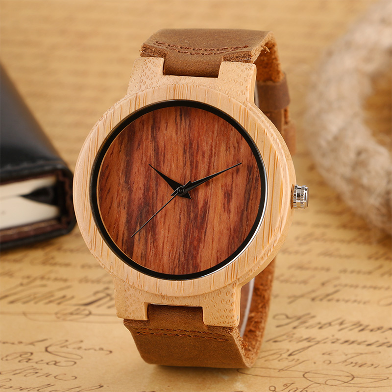 New Arrival Simple Brown Wood Dial Genuine Leather Band Strap Men Wristwatch Quartz Movement Casual Bamboo Pattern Male Watches 2017 new arrival hand made full bamboo design quartz wristwatch bracelet clasp green beige dial simple casual male watch gift
