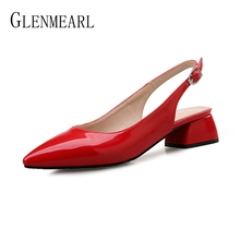 Women Pumps High Heels Shoes Female Fashion Patent leather Thick Heel Ladies Shoe Buckle Strap Pointed Toe Wedding Shoes Heels fashion women pointed toe chunky high heels sexy patent leather shoes women pumps lazy shoe pink black red silver wedding heels