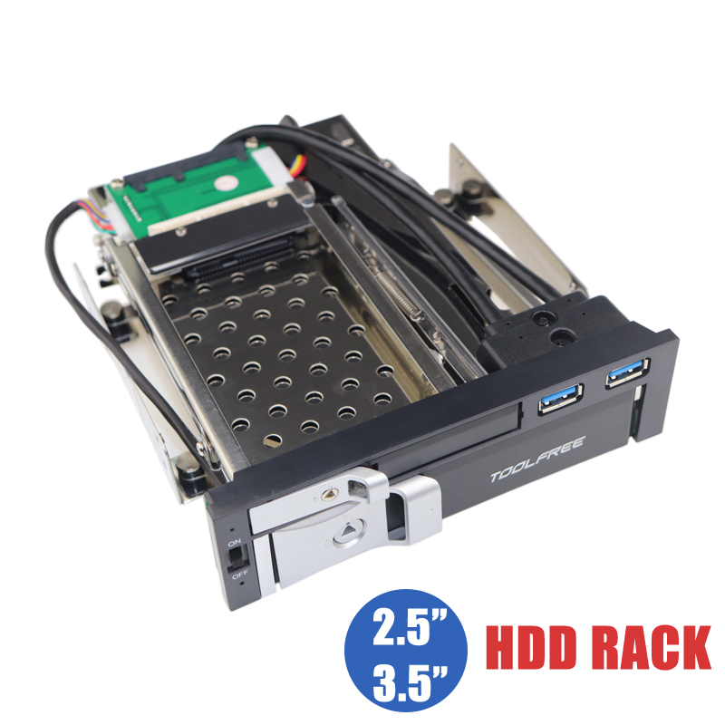 Boîtier de Rack Mobile sans Trayless à double baie optique de 5.25