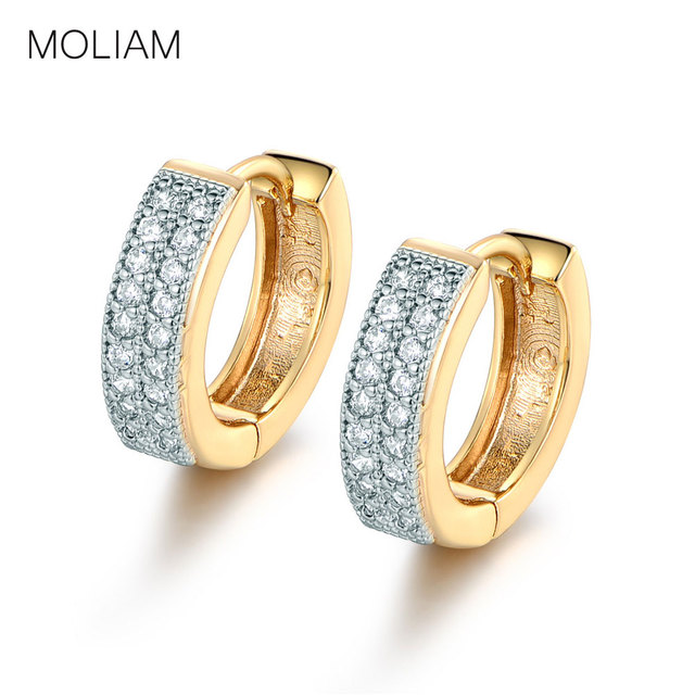 MOLIAM Luxury Small Hoop Earrings for Women High Quality Double Layers AAA Cubic Zirconia Huggies Earing Jewelry E225