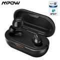 Mpow T5 TWS Auricular Bluetooth 5.0 Auriculares estéreo inalámbricos 3D Auriculares manos libres Mini AptX Auriculares IPX7 Resistente al agua con 36H Tiempo de juego