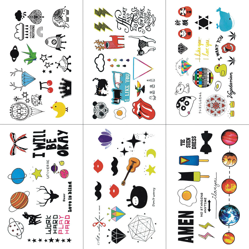 HXMAN Cartoon Children Temporary Tattoo Sticker Waterproof Fashion Fake Body Art Tattoos 9.8X6cm Kids Hand Tatoo MX-020